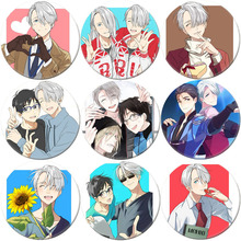 New Fashion Anime YURI!!! on ICE Yuri Victor Brooch Cosplay Badge Backpacks Button Clothes Female Women Party Gift  BSDYL