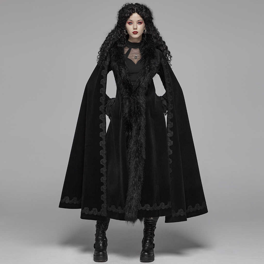 Punk Rave ผู้หญิงโกธิคเสื้อโค้ทยาว Steampunk Vintage Gorgeous Long Coat Evening Party Stage Trench Coat