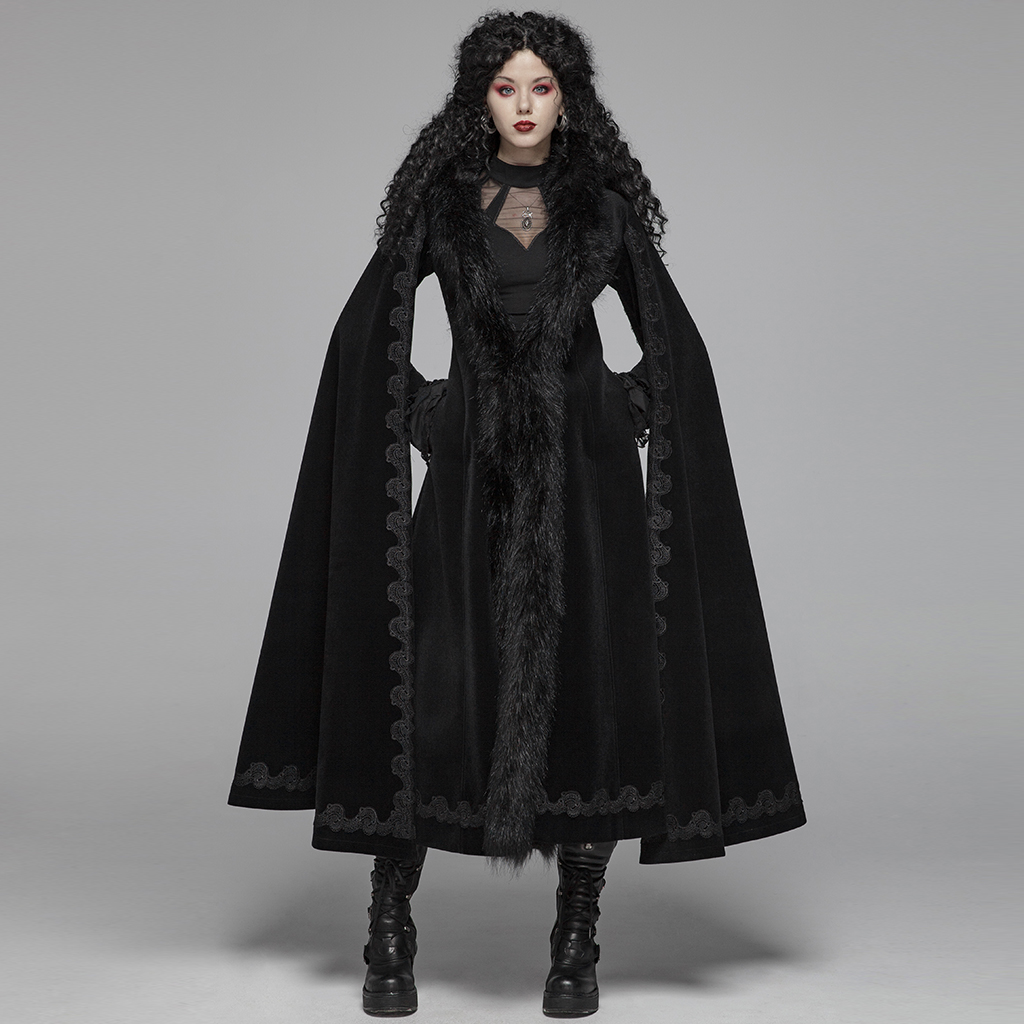 Punk Rave Women Gothic Long Coats Steampunk Vintage Gorgeous Long Coat Evening Party Stage Performance Trench Coat