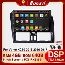 Eunavi אנדרואיד מערכת 9 אינץ רכב רדיו עבור וולוו XC60 2015 2016 2017 מולטימדיה נגן וידאו 4G 64GB ניווט GPS 1 דין לא dvd