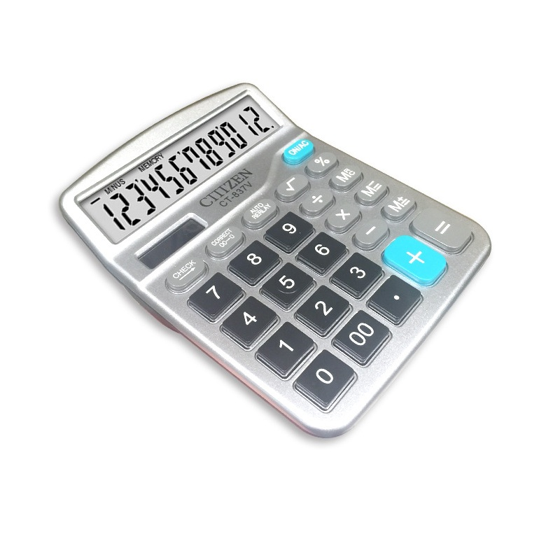 12 Digit Desk Calculator Large Buttons Financial Business Accounting Tool White Big Buttons Battery