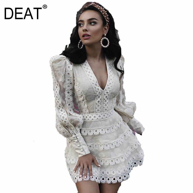 DEAT 2020 New Summer Fashion Women Clothes V-neck Puff Lseelves Embroidery Hollow Out Lace Sexy Mini Length Dress WK52100L
