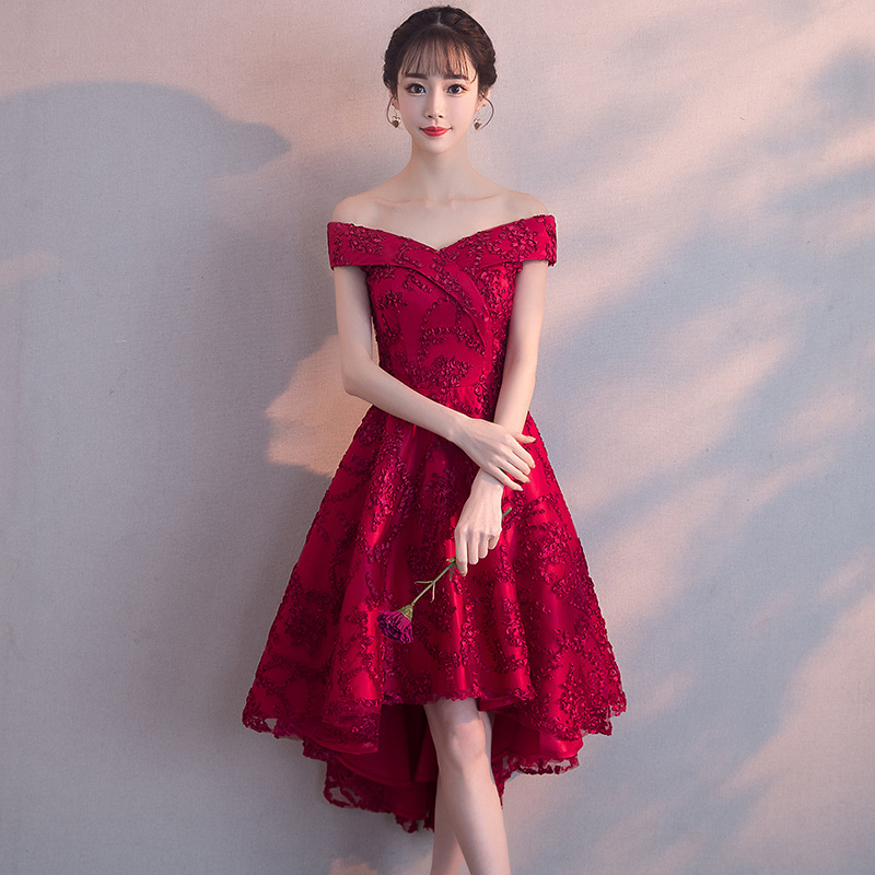 Bride Dress For Toast 2019 New Style Autumn Fashion Red Off-Shoulder Slim Fit Front Short Long Back Marriage Formal Dress Women'