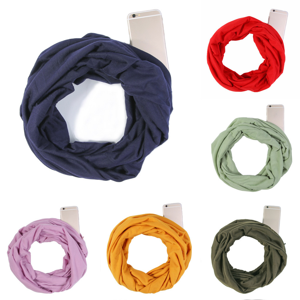 2020 New Autumn Winter Unisex Lovers Winter Solid Warm Loop Scarf Zippered Phone Pocket Shawl Ring Multifunctional Head Scarf#O8
