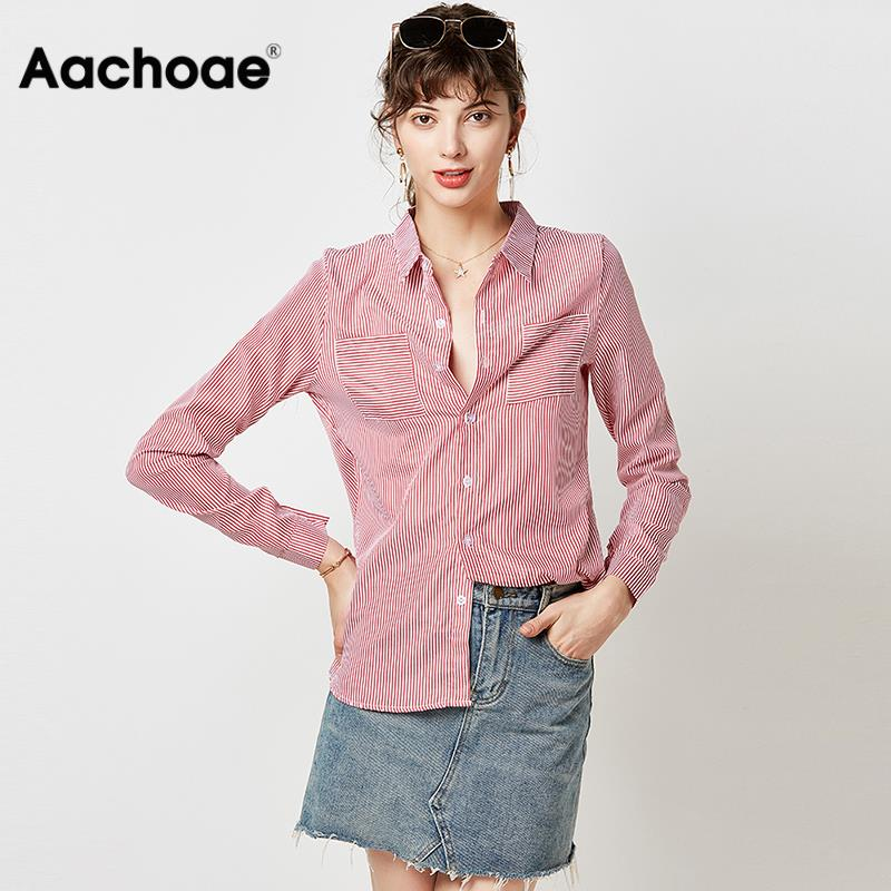 Striped Long Sleeve Shirt Women Blouse 2020 Turn Down Collar Casual Blouses Fashion Office Pocket Shirts Chemisier Femme