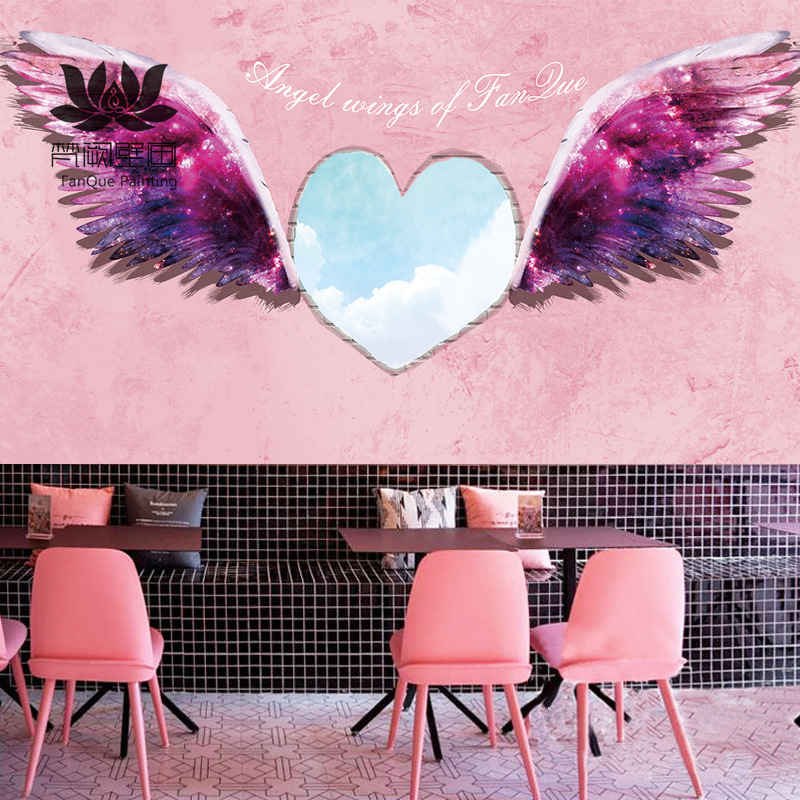 Northern European-Style Online Celebrity Tea Shop Angel Wings Wallpaper Clothing Store Dance Studio 6D Stereo Pink Feather Photo