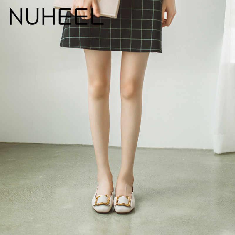 Nuheel Nam Nữ Da Mềm Dẹt Vuông Bơm Mùa Xuân Mới Gót Thấp Cổ Tích Tự Nhiên Nhẹ Nhàng Giày Nữ