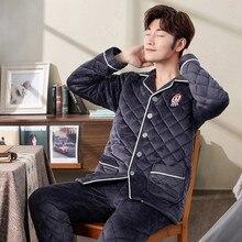 Мужские пижамные комплекты, зимняя модная Мужская Фланелевая пижама с длинным рукавом, Мужская пижама, одежда для дома и отдыха