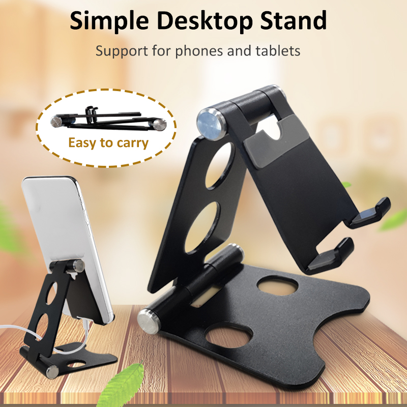 Adjustable Mobile Phone Holder Aluminium Bracket Mount Desk Stand Double Folding Portable For Tablet
