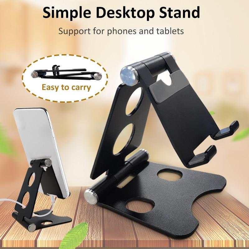 Adjustable Mobile Phone Holder Aluminium Bracket Mount Desk Stand Double Folding Portable For Tablet