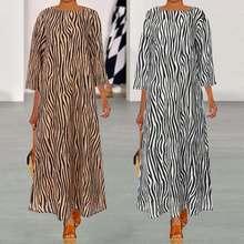 Vintage Women Summer Dress Plus Size 2019 Celmia Flare Sleeve Zebra Striped Print Dresses Ruffles Casual Party Vestidos Robe 5XL