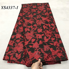 Dress Fabric High-Quality Black Red 5-Yards Base Wine Regular-Pattern Rose-Design Size