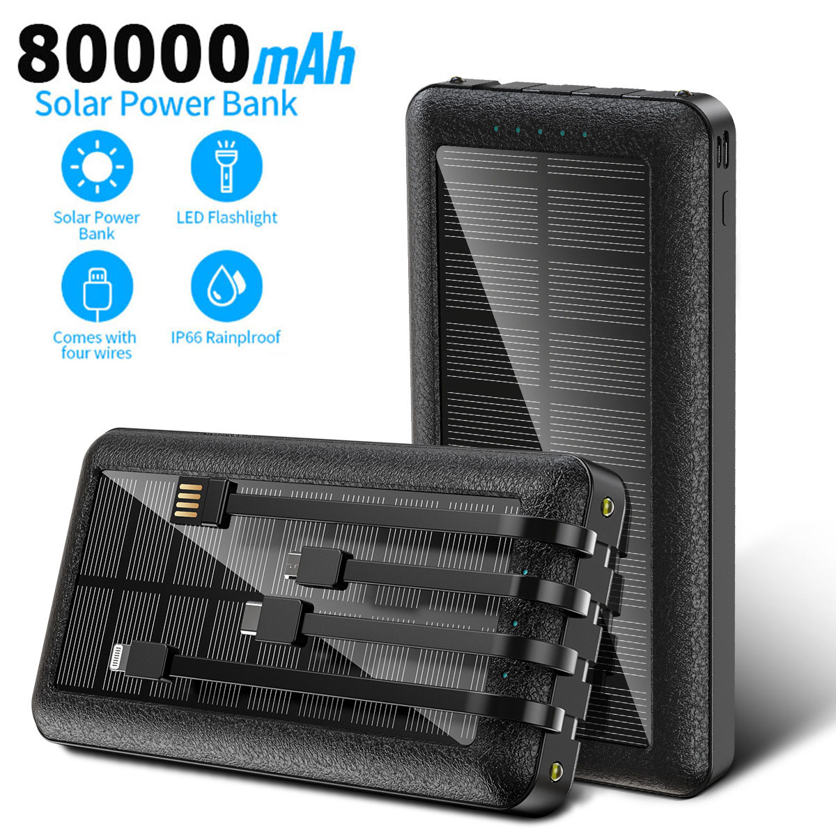 80000mah Solar Power Bank Portable External Charger Fast Charging PoverBank LED External Battery for Xiaomi Iphone Samsung
