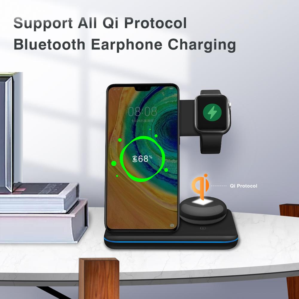 DataRoad 2020 New Mobile Wireless Phone Charger 3 in 1 Wireless Desktop Charger Station For Earphones and Smartwatch