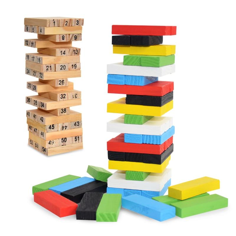 Creative Novel Wooden Digital Jenga Building Block Brain Game Toy Fashion Children Entertainment Intelligence Interaction Toys
