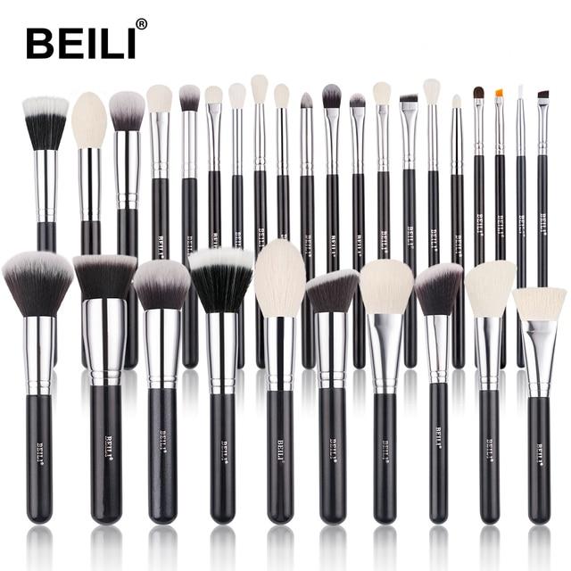 BEILI Black Makeup brushes set Professional Natural goat hair brushes Foundation Powder Contour Eyeshadow make up brushes 1