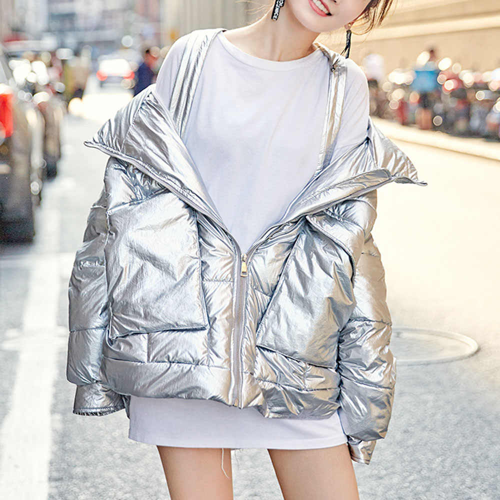 Fashion Woman Glossy Jacket Hooded Parkas 2019 Winter Short Coat Women Silver Black Loose Thicken Cotton-Padded Jackets Coats