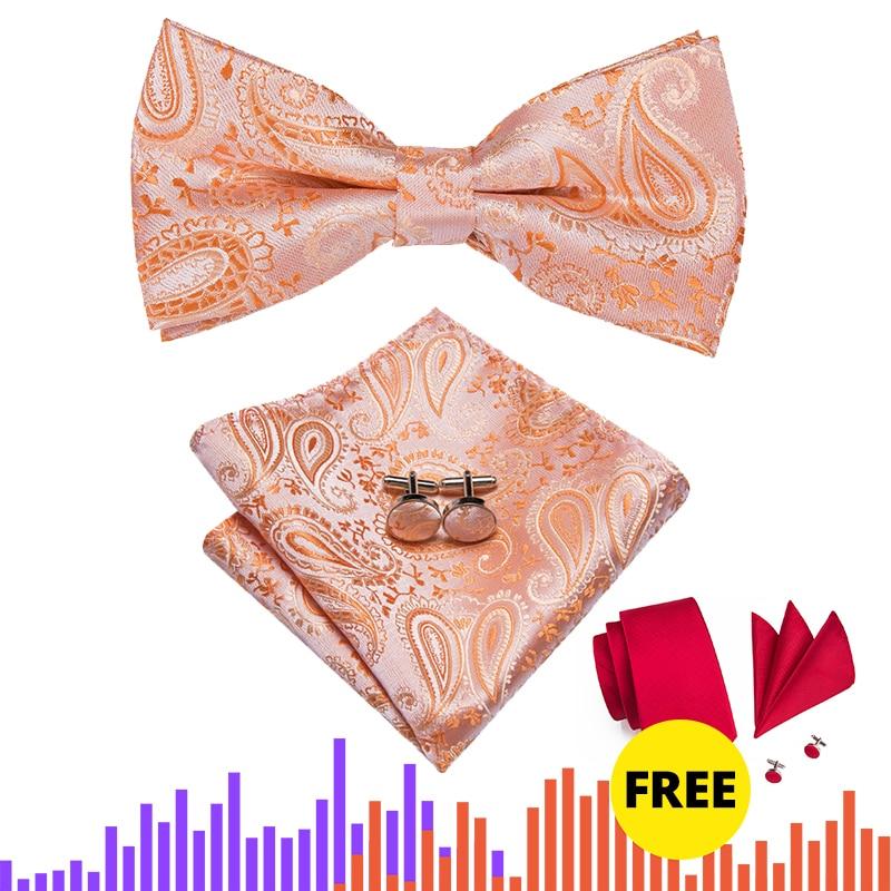 LH-739 Hi-Tie Designer Men's Classic Peach Wedding Bow Ties Fo Men Pocket Square Cufflinks Set Luxury Paisley Bowtie Neckwear