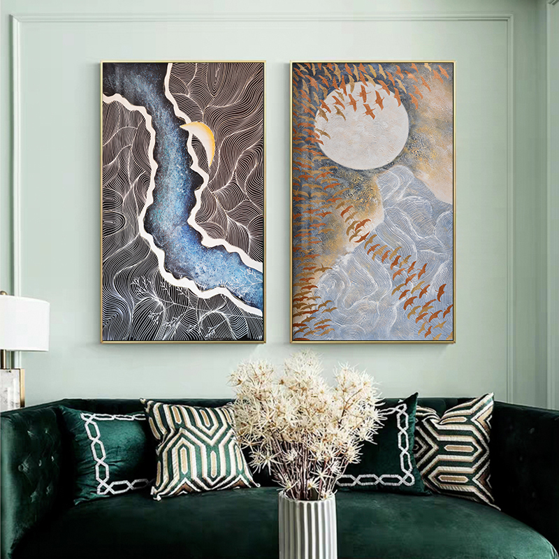 Abstract Moonlight Canvas Painting Blue River Posters Bird Moon Prints Fashion Wall Pictures For Living Room Big Green Wall Art
