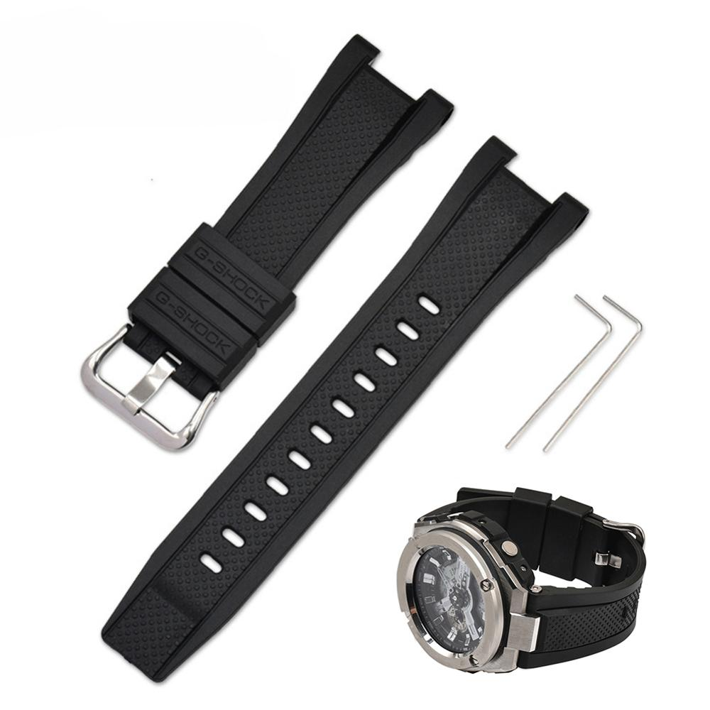 Adjustable watch band replacement Accessories for GST-W300/GST-S110/GST-W110 resin rubber pin buckled watchbands