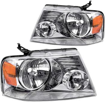Sulinso Fit For Ford-F150 Pickup-2004-2008 Headlight Chrome Housing Amber Reflector Clear Lens,Passenger & Driver side