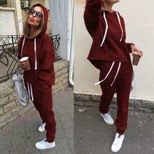 Tweedelige Set Fashion Casual Suits Trainingspak Vrouwen Herfst Hooded Trui Fleece & Losse Broek Tweedelige Set Hoodies broek(China)