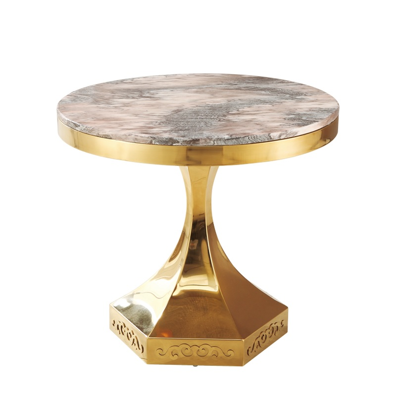 Small Coffee Table With 60cm Round Artificial Marble Tabletop 53.5cm High / Italy DesignTea Table With Gilded Metal Foot