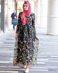 Image 3 - Dubai Sweet Floral Muslim Dress Women Embroidery Flower Big Swing A line Long Dress Lace up Islamic Clothing Maxi Hijab Dresses