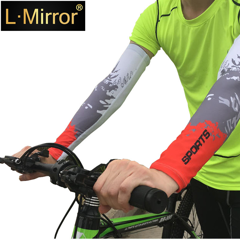 L.Mirror 1Pair UV Protection Cooler Arm Sleeves Unisex Men Women Sun   Cover Sleeve For Bike/Hiking/Running/Golf