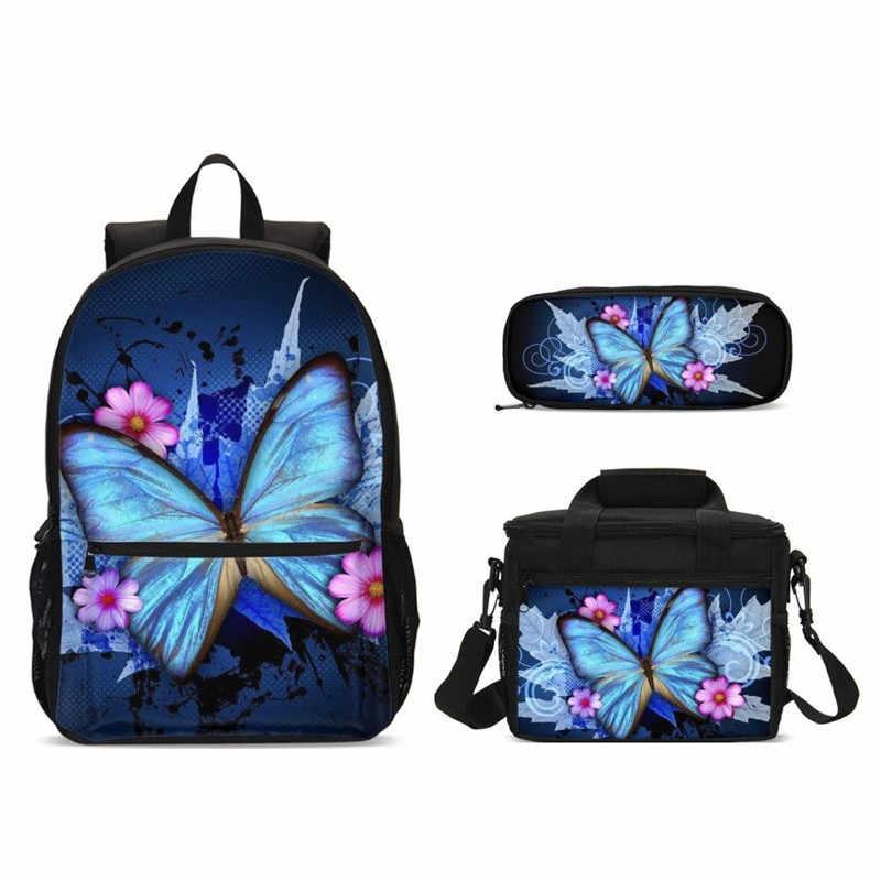 3 sztuk/zestaw szkolne torby dla nastolatków dziewczyny 3d motyl dzieci tornister duży plecak szkolny dzieci tornister nadruki kwiatowe Mochila