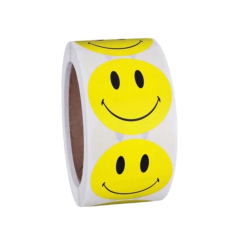 Cinta adhesiva de un rollo con 100 Uds. Pegatinas de expresión sonriente roja amarilla para niños bonita papelería escolar 60cm * 3M sólido mate vinilo autoadhesivo papel pintado DIY impermeable pegatinas de pared decoración del hogar Películas sala de estar cocina puerta cartel