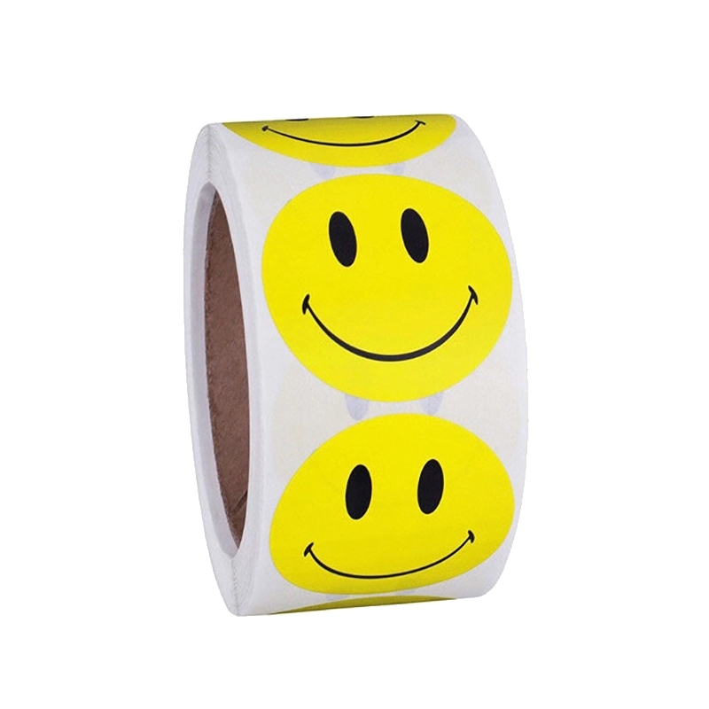 One Roll  Adhesive Tape With 100pcs Yellow Red Smiley Expression Stickers For Children Cute School Stationery