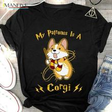 100% Cotton Short Sleeve 2019 My Patronus Is A Corgi T Shirt Black Men