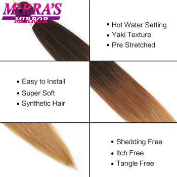 30inch Jumbo Braids Hair Extensions Braiding Hair Pre Stretched Ombre Synthetic Braid YAKI Texture 1/2/4/6/8 Pcs Mirra's Mirror 4