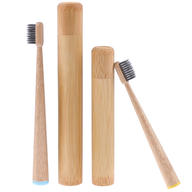 1PCS Toothbrush +1pc Bamboo Tube Eco Friendly Natural Bamboo Toothbrush Travel Case Soft Head Teeth Brush image