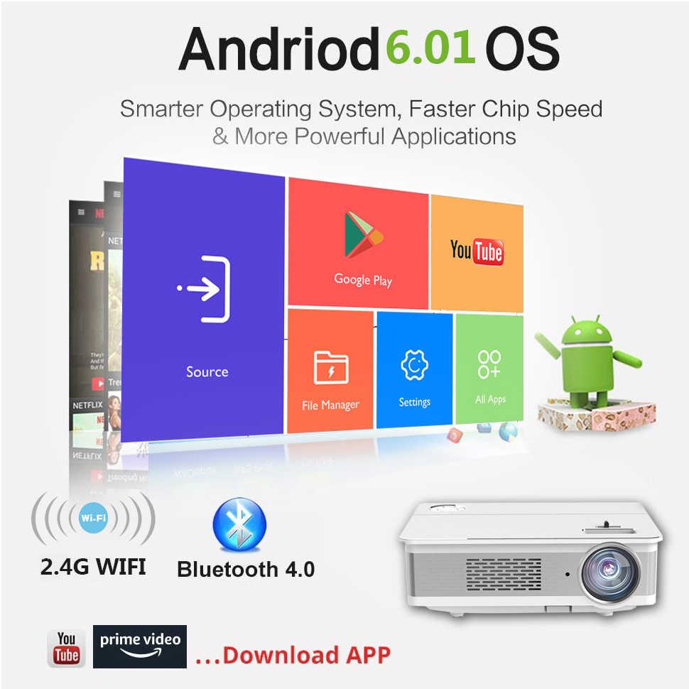 TRANSJEE natif 1080p Support 4K projecteur Full HD film 3D Android LED Portable WIFI Projecor 1920x1080 5800 Lumen Bluetooth