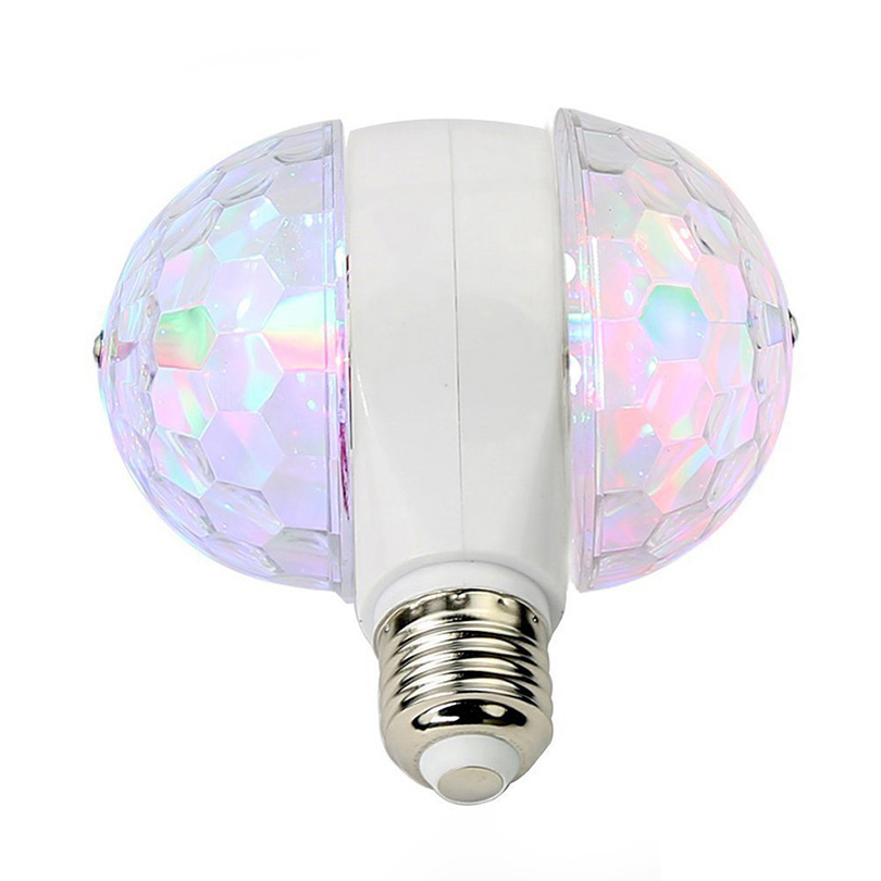 6W E27 Rotating LED Strobe Bulb Multicolor Crystal Stage Light Dual Head Stage Disco Lamp For Halloween Christmas Party Birthday