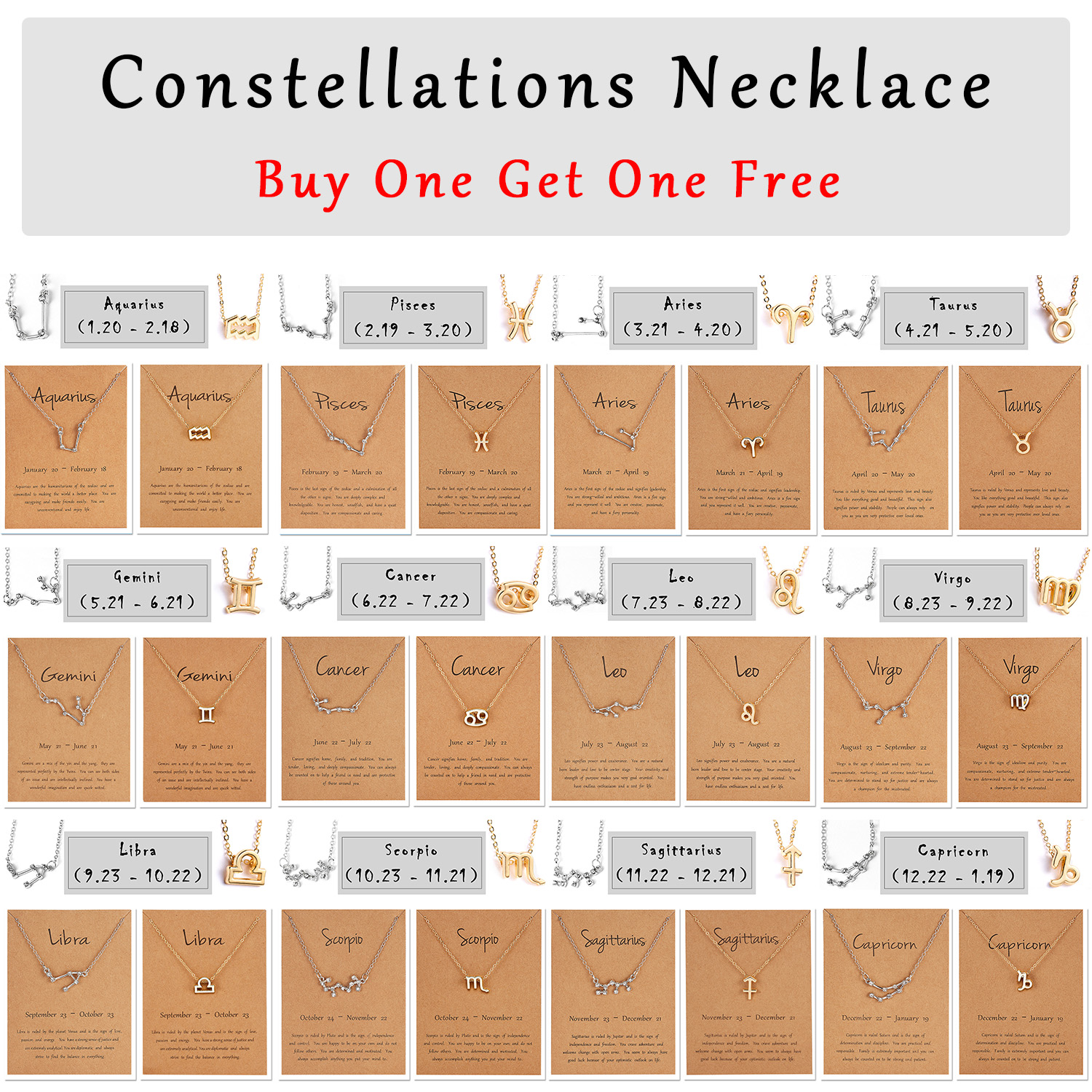 Rinhoo 12 Constellation Zodiac Sign Necklace For Women Gold Silver Jewelry Leo Libra Aries Pendant Horoscope Astrology Necklace image