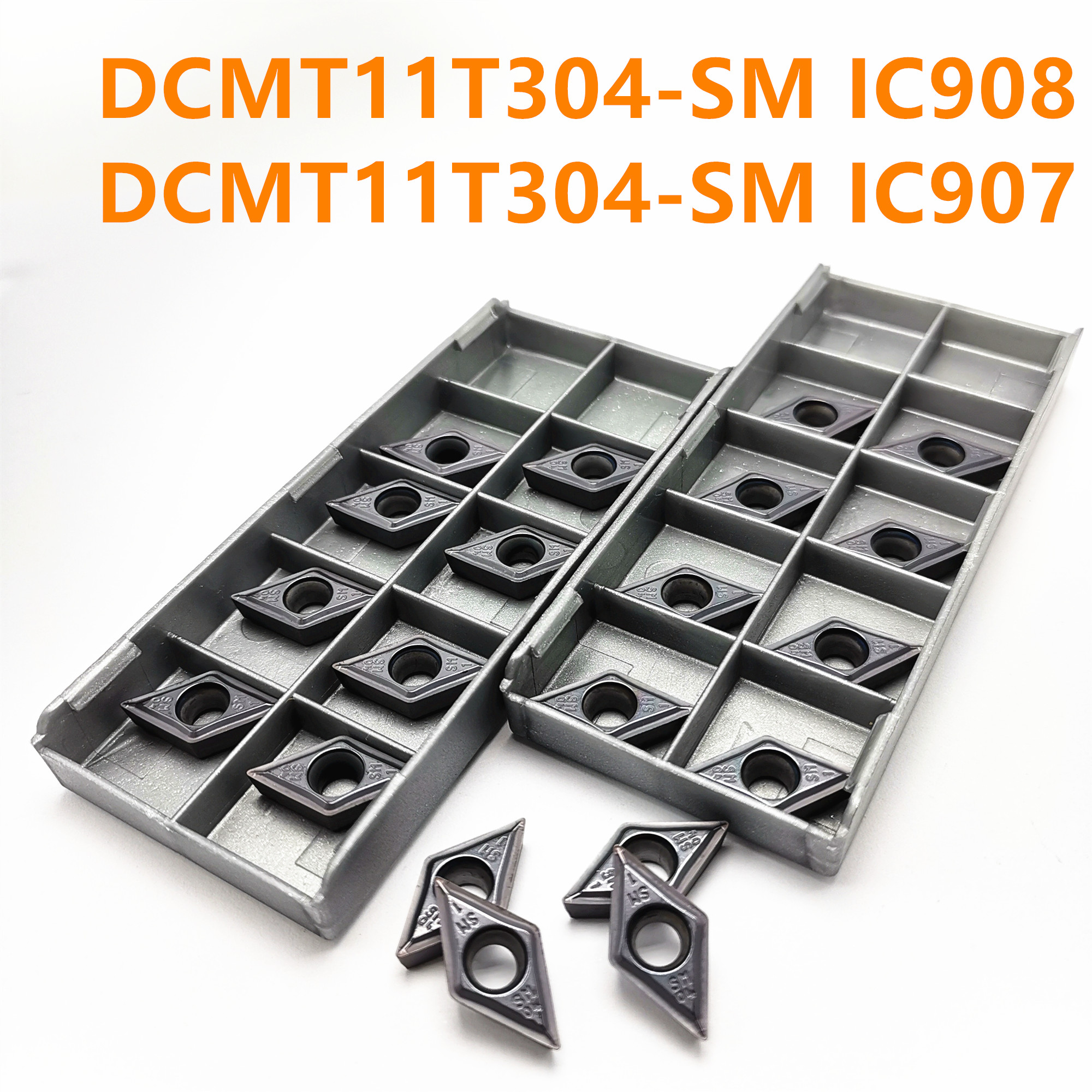 Tungsten Carbide DCMT11T304 IC907 / 908 Insert Internal Turning Tool DCMT 11T304 Lathe CNC