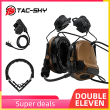 TAC SKY COMTAC III Helmet Bracket Silicone Headphones and Intercom PTT U94 PTT with Tactical Headphones Replacement Headband CB