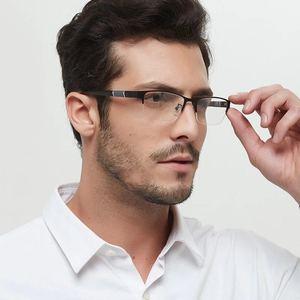 Anti Blue Myopic Glasses Men Retro Metal Half Frame Student Square Myopia Glasses Frame for Women 0 -1.0-1.5-2.0-2.5-3.0-3.5-4.0