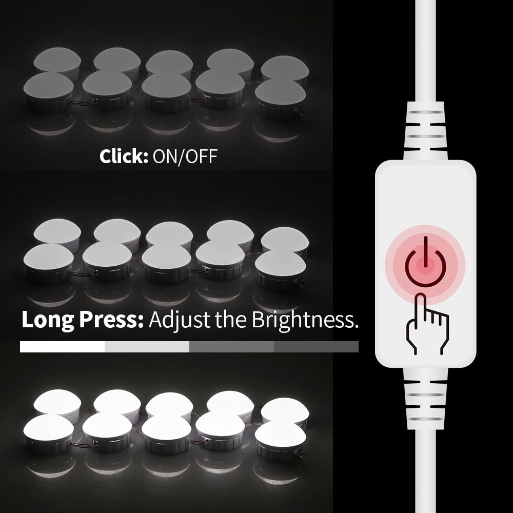 Led Vanity Light Makeup Mirror Light Bulb 12V LED USB Cable Powered Dressing Table Make Up mirror Lamp Decor Bathroom Wall lamp 4