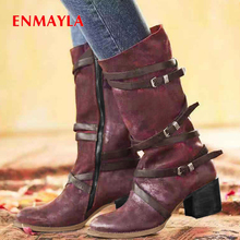 ENMAYLA Round Toe Synthetic Mid-Calf Women Boots Work & Safety Zip Square Heel Winter High Short Plush Solid Chain