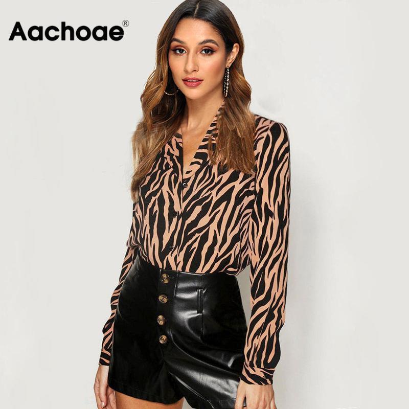 Aachoae Women Blouses Long Sleeve Turn Down Collar Chiffon Blouse Zebra Print Office Shirt Casual Tops Plus Size Chemisier Femme