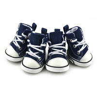 Puppy Pet Dogs Denim Shoes Sport Boots Anti slip Bootie Walk Causal Sneaker 4 PCS