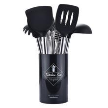 Черная, красная кухонная утварь, инструмент для приготовления пищи, Тернер, лопатка, Тонг, силиконовая кухонная утварь, кухонная посуда, приспособление для выпечки