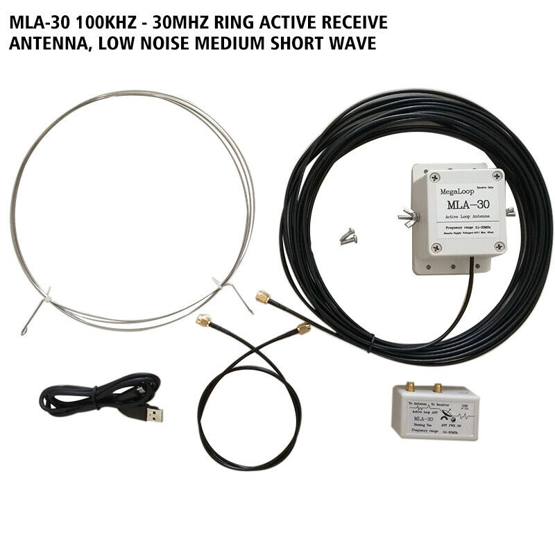 MLA-30 Loop Antenna Active Receiving Antenna Low Noise Balcony Erection Antenna 100kHz - 30MHz for HA SDR Short Wave Radio image