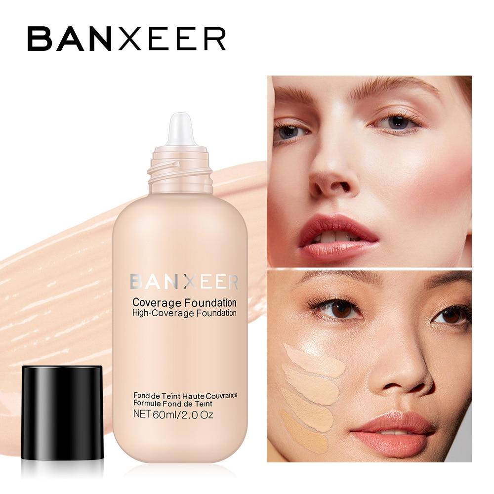 BANXEER 60ml Foundation Matte Long Lasting Full Concealer Foundation Makeup Liquid Cream Natural Base Make Up