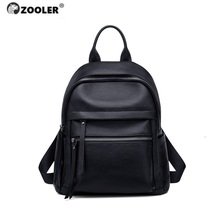 ZOOLER 2020 NEW Black Travel Bag Real Leather Backpack Women Genuine Leather Backpacks Solid Luxury Backpack Bags Cow#YF201 yupinxuan luxury cow leather backpacks for men large travel bags real leather high capacity genuine leather backpack male bag