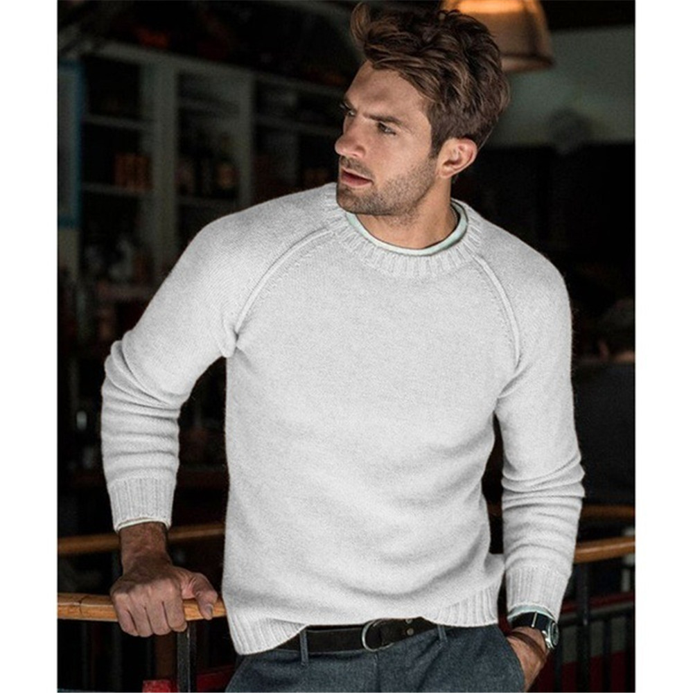 Autumn Winter Fashion Men Sweaters Long Sleeve O-Neck Knitted Tops For Men Casual Outwear Clothing Male Solid Color Warm Sweater